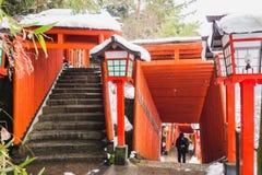 De weg op de heuvel wordt te beklimmen om naar Taikodani-Heiligdom te gaan gevuld met rode Torii-Pijlers royalty-vrije stock foto's