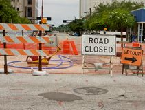 De weg sloot teken Stock Foto's