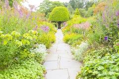 De weg van Crathestuinen tussen de bloemen Schotland Stock Foto