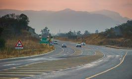 De weg van de asfaltteer in Zuid-Afrika Royalty-vrije Stock Foto's