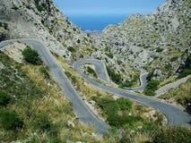 De weg van de berg - Mallorca Royalty-vrije Stock Afbeeldingen