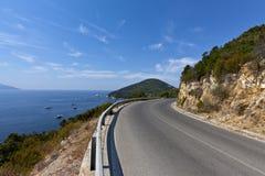 De Weg van de berg op het Eiland van Elba Royalty-vrije Stock Afbeeldingen