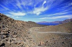 De weg van de caldera Stock Afbeeldingen
