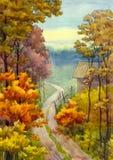 De weg van de herfst royalty-vrije illustratie