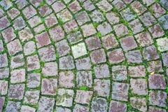De weg van de het grasbaksteen van de kei Stock Foto's