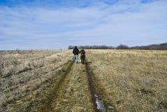 De weg van de lente op een gebied met cijfers Royalty-vrije Stock Foto's