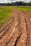 De weg van de modder in de weide Royalty-vrije Stock Afbeelding