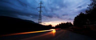De weg van de nacht Royalty-vrije Stock Foto's