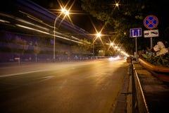 De weg van de nacht Royalty-vrije Stock Fotografie