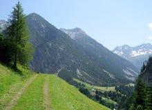 De weg van de trekking in de alpen Stock Foto's