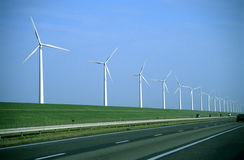 De Weg van de windmolen - zichtbare filmkorrel Stock Foto