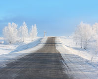 De weg van de winter stock afbeeldingen