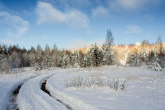 De weg van de winter Stock Afbeelding