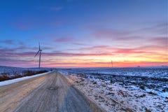 De weg van de winter bij zonsondergang Stock Foto