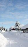 De weg van de winter in Noorwegen Stock Foto