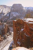 De Weg van de winter onder het Landen van de Engel in Zion Stock Afbeeldingen