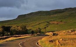 De weg van de zonsondergang, B6255, Noord-Yorkshire Stock Fotografie