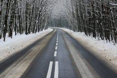 De weg van het asfalt in de winter stock afbeeldingen