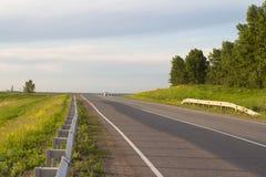 De weg van het asfalt door het groene gebied Stock Afbeelding