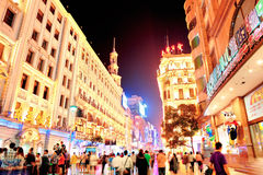De Weg van Nanjing in Shanghai Stock Afbeeldingen