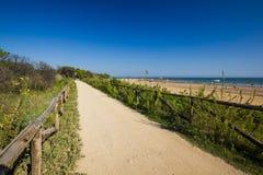 De weg van Nice aan strand, zonnige dag Stock Foto's