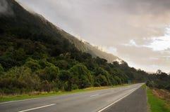 De weg van Otira, de Pas van Arthur, Nieuw Zeeland stock foto