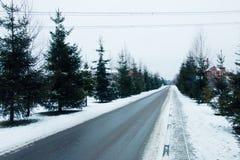 De weg van de winter de omgeving van het dorp in de winter Royalty-vrije Stock Afbeeldingen