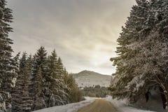 De weg van de winter Ongunstige Drijfvoorwaarden royalty-vrije stock afbeeldingen