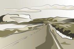 De weg vectorillustratie van het landschap Stock Foto's
