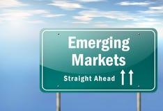 De weg voorziet Nieuwe Markten van wegwijzers stock illustratie