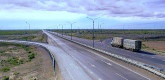 De weg Westelijk Europa-Westelijk China Stock Foto