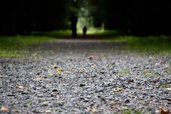 De weg wordt uitgestrooid met kleine stenen stock afbeeldingen