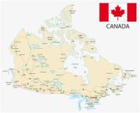 De wegenkaart van Canada met vlag Royalty-vrije Stock Foto