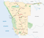 De wegenkaart van Namibië Royalty-vrije Stock Afbeeldingen