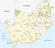 De wegenkaart van Zuid-Afrika Stock Afbeeldingen
