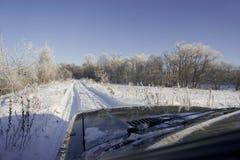 De weglandschap van de winter stock foto