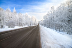 De wegverkeer van de de winterweg Stock Fotografie