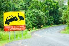 De wegwaarschuwingssein van de kasuaris in Australië Stock Foto's