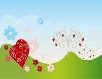 De weide van de valentijnskaart Stock Afbeelding
