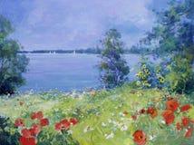 Kleurrijke bloemen op een de zomerweide Royalty-vrije Stock Afbeeldingen