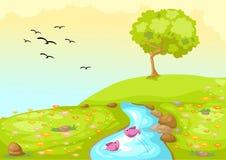 De weide van het landschap stock illustratie