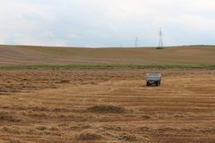De weide van het landschapsgebied na oogst Royalty-vrije Stock Afbeeldingen