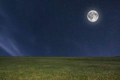 De weideachtergrond van de nachthemel met maan en sterren Volle maan Royalty-vrije Stock Afbeeldingen
