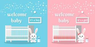 De welkom baby plaatste het is een jongen en een meisje vectorillustratie stock illustratie