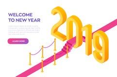 De welkom Isometrische Creatieve aantallen van 2019 Rood tapijt aan het Nieuwjaar van 2019 Weg aan Nieuwjaar Creatief ontwerp voo vector illustratie