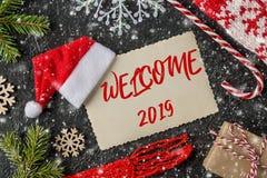 De WELKOM met de hand geschreven inschrijving van 2019 De samenstelling van de de wintervakantie stock foto's