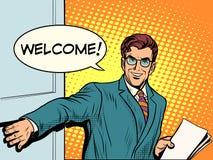 De welkom zakenman opent de deur stock illustratie