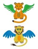 De welp van de tijger en jonge leeuw Stock Afbeelding
