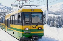 De Wengernalpbahntrein komt aan de post in Grindelwald, Zwitserland aan Stock Afbeelding
