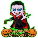 De wensen Gelukkig Halloween van tellingsdracula op een geïsoleerde witte achtergrond Stock Foto